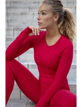 T-Shirt Long Sleeve Curvas Latina sportswear - Rosali redcoat Supplex
