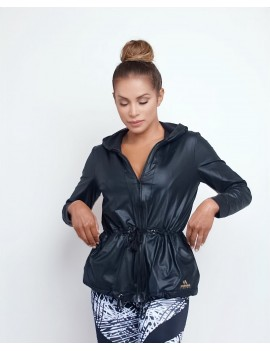 Windbreaker sportswear Curvas Latina - Leo Black k-Way